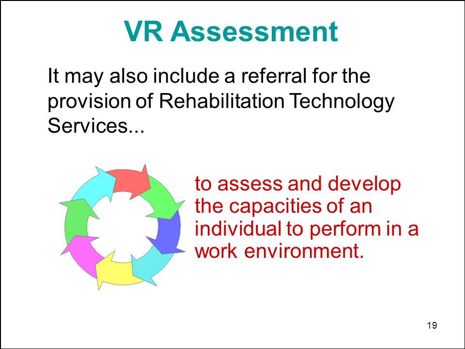 19 VR Assessment It may also include a referral for the provision of Rehabilitation Technology Services...