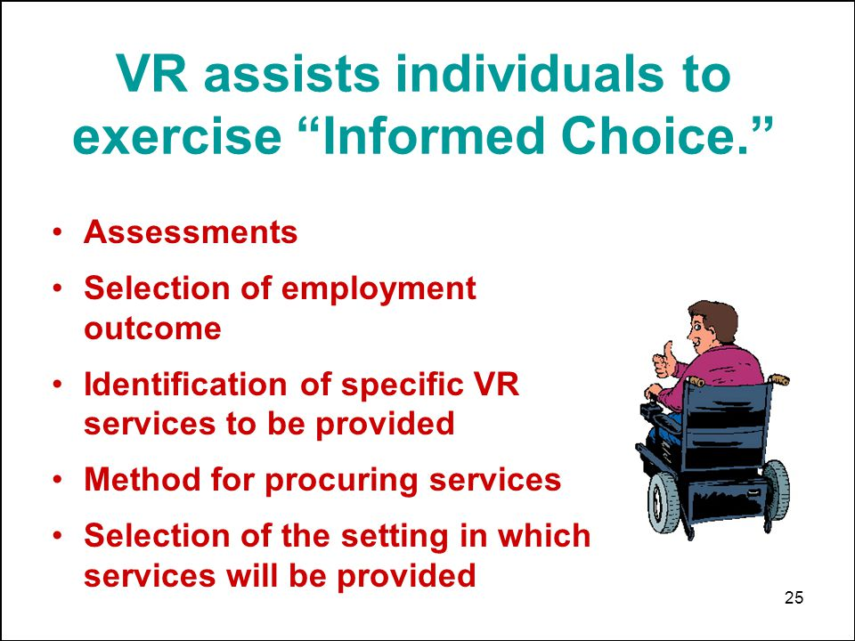 25 VR assists individuals to exercise Informed Choice.
