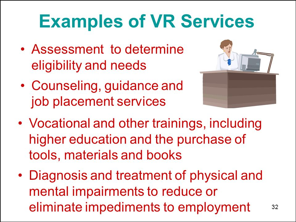 32 Examples of VR Services Assessment to determine eligibility and needs Counseling, guidance and job placement services Vocational and other training