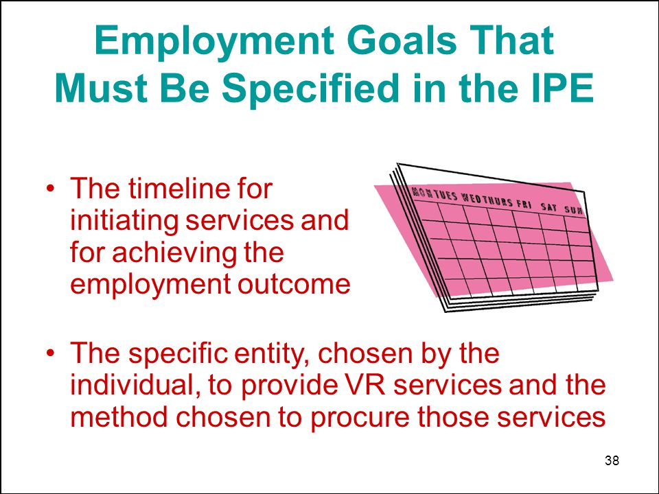 38 Employment Goals That Must Be Specified in the IPE The timeline for initiating services and for achieving the employment outcome The specific entity, chosen by the individual, to provide VR services and the method chosen to procure those services