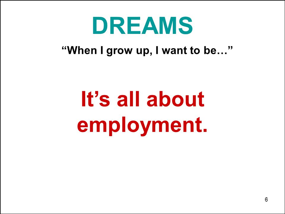 6 Its all about employment. DREAMS When I grow up, I want to be…