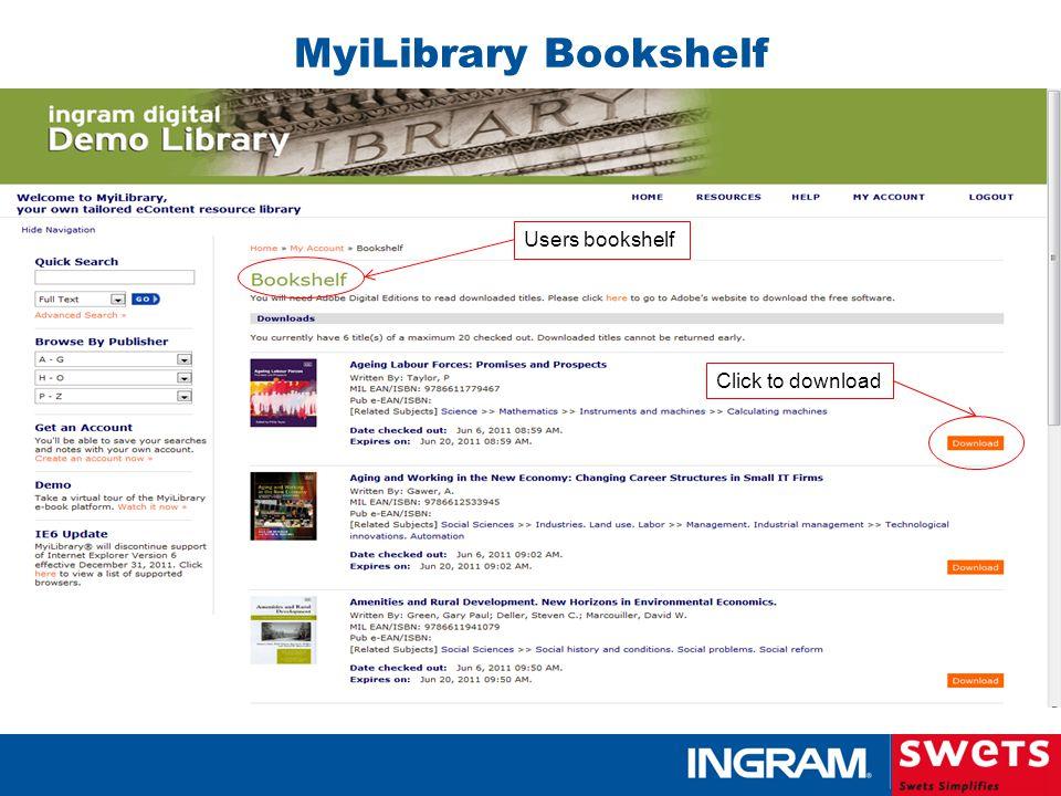 Users bookshelf Click to download MyiLibrary Bookshelf