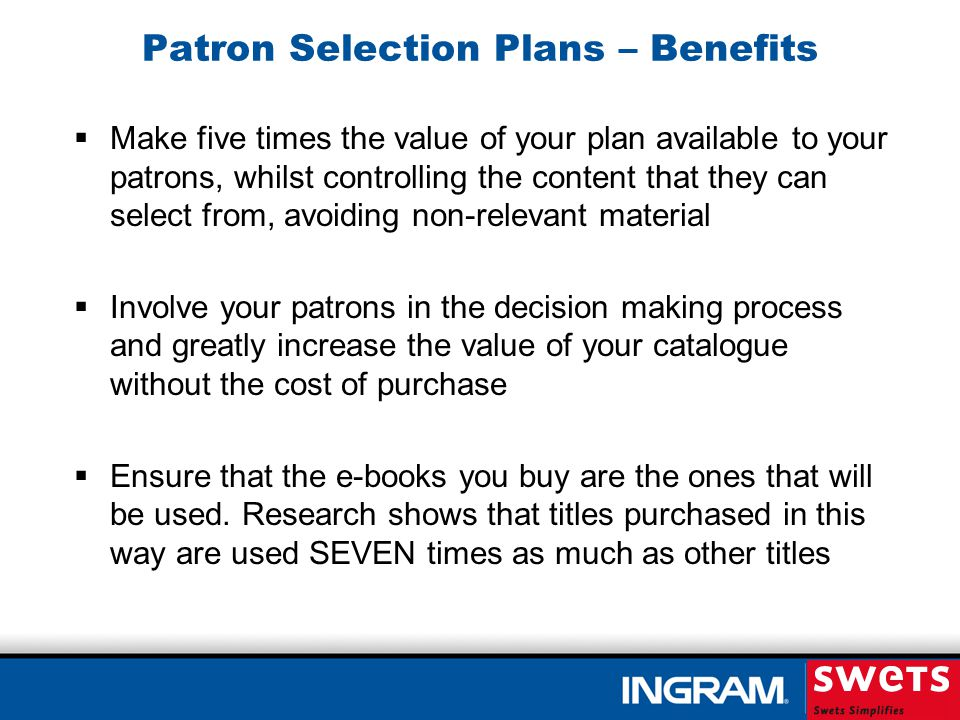 Patron Selection Plans What constitutes an actual e-book purchase.