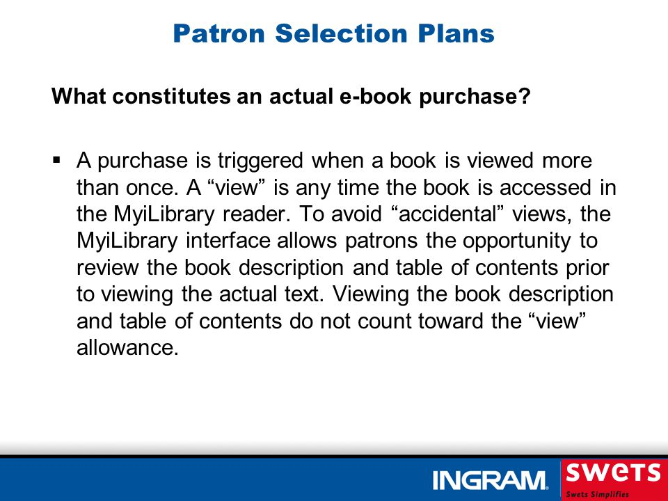 What constitutes an actual e-book purchase? Patron Selection Plans