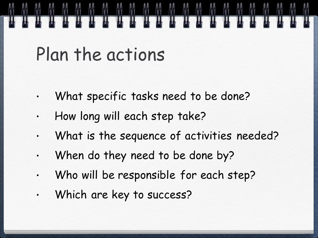 Plan the actions What specific tasks need to be done.