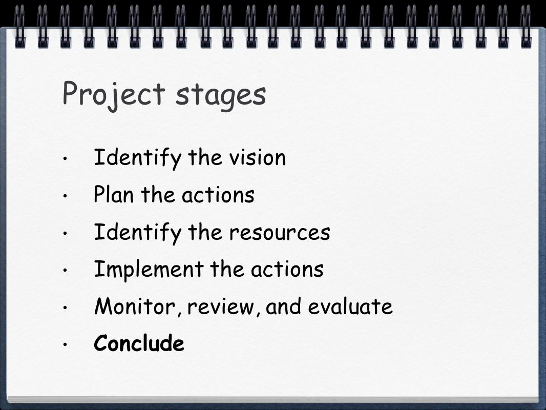 Project stages Identify the vision Plan the actions Identify the resources Implement the actions Monitor, review, and evaluate Conclude