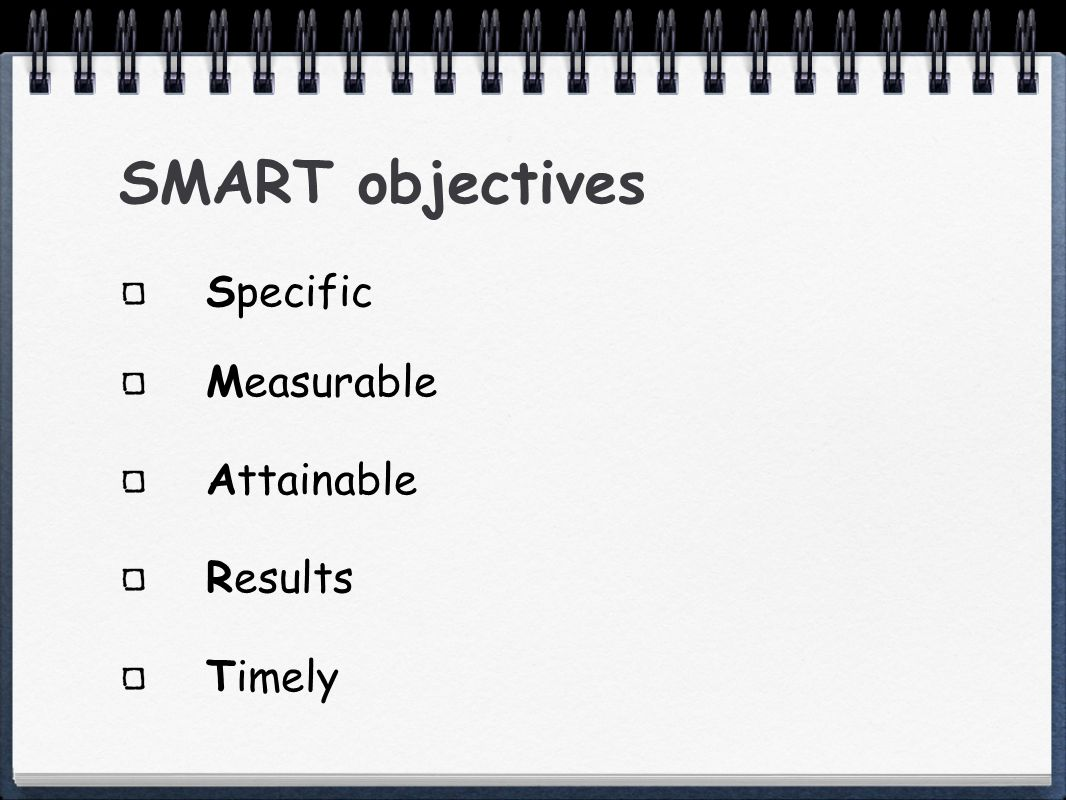SMART objectives Specific Measurable Attainable Results Timely