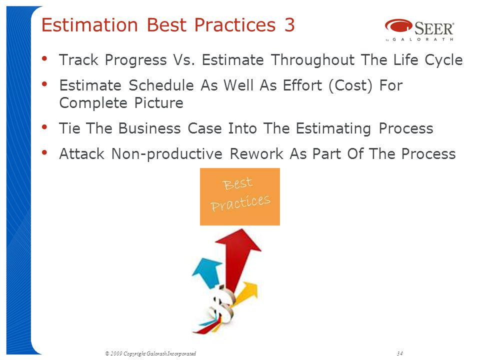 Estimation Best Practices 3 Track Progress Vs.