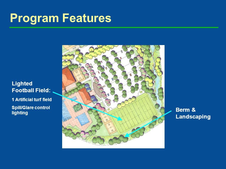 Program Features Lighted Football Field: 1 Artificial turf field Spill/Glare control lighting Berm & Landscaping