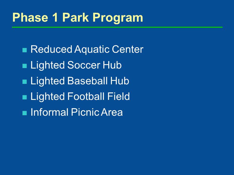 Reduced Aquatic Center Lighted Soccer Hub Lighted Baseball Hub Lighted Football Field Informal Picnic Area Phase 1 Park Program
