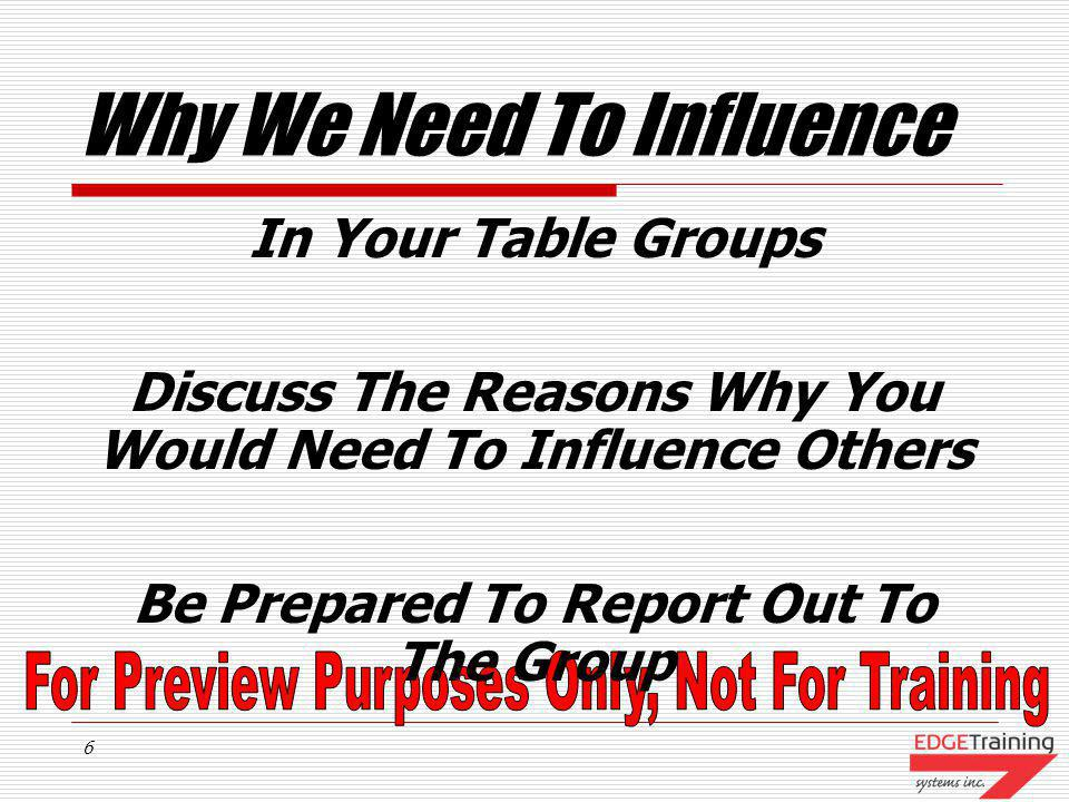 5 Examples Of Influence In Your Table Groups Discuss The Following What Types Of Areas Would You Like To Influence Among Your Reports, Peers Or Manger