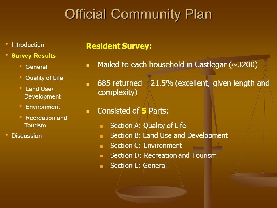Official Community Plan Residential Introduction Survey Results General Quality of Life Land Use/ Development Environment Recreation and Tourism Discussion