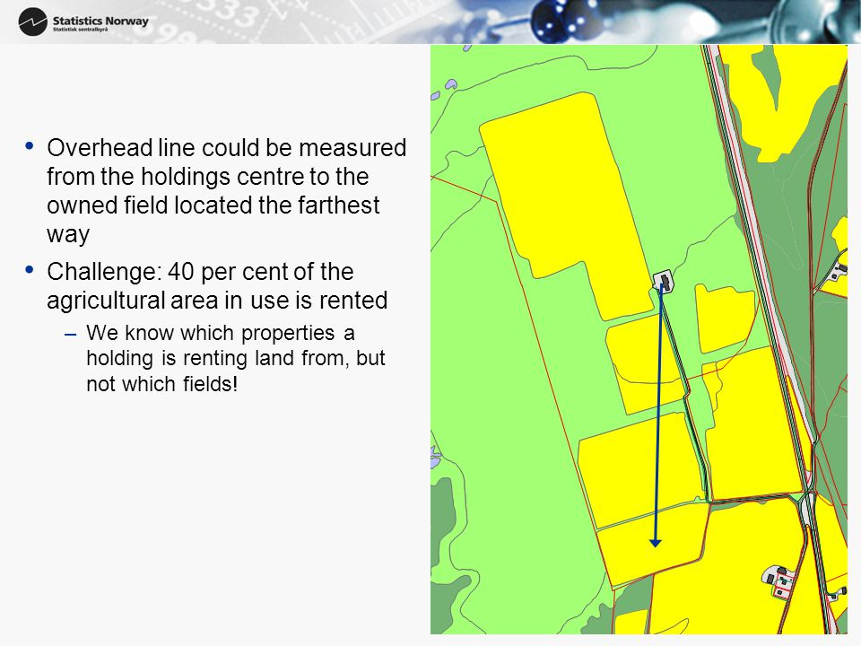 10 Overhead line could be measured from the holdings centre to the owned field located the farthest way Challenge: 40 per cent of the agricultural area in use is rented –We know which properties a holding is renting land from, but not which fields!