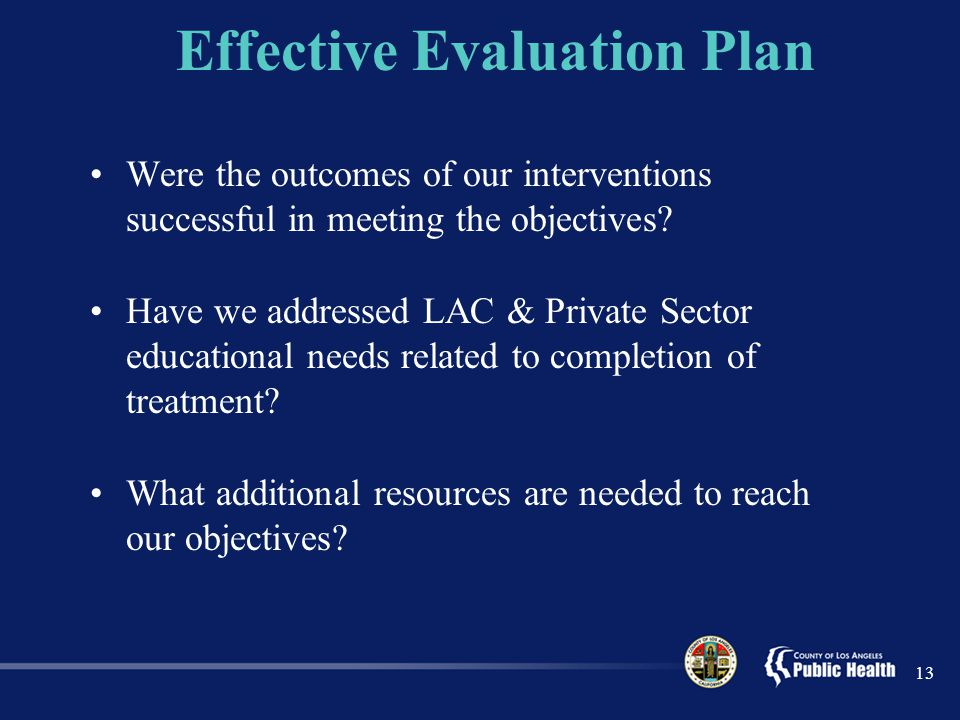 Effective Evaluation Plan Were the outcomes of our interventions successful in meeting the objectives.
