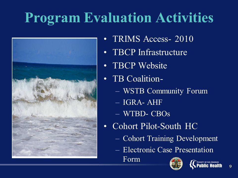 Program Evaluation Activities TRIMS Access- 2010 TBCP Infrastructure TBCP Website TB Coalition- –WSTB Community Forum –IGRA- AHF –WTBD- CBOs Cohort Pilot-South HC –Cohort Training Development –Electronic Case Presentation Form 9