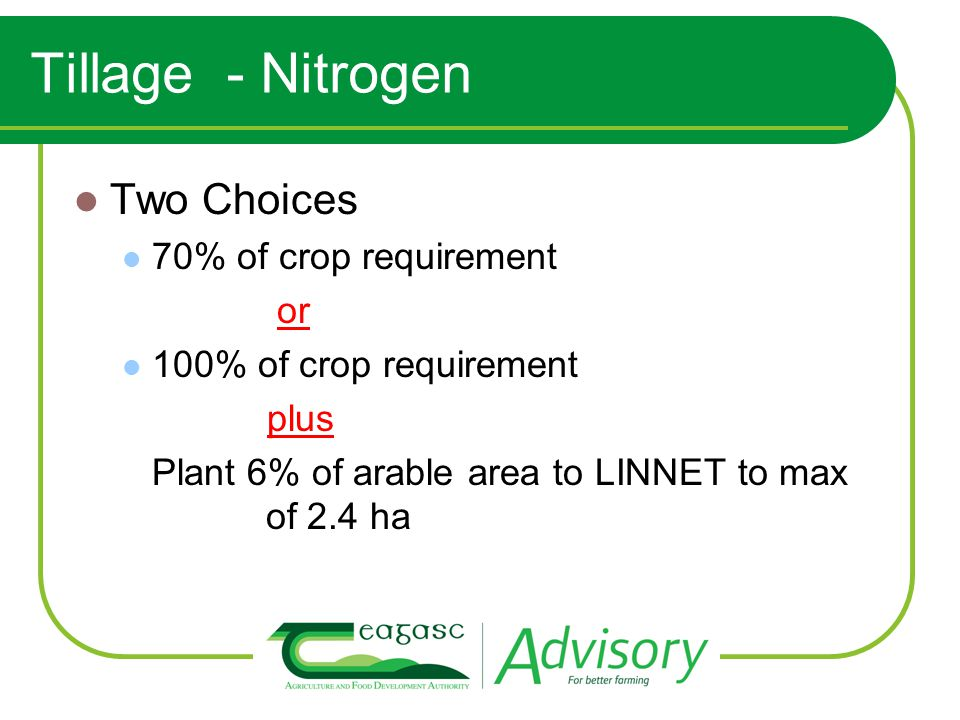 Tillage - Nitrogen Two Choices 70% of crop requirement or 100% of crop requirement plus Plant 6% of arable area to LINNET to max of 2.4 ha