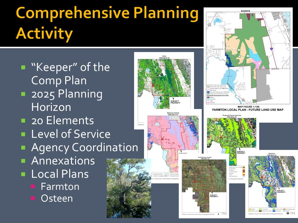 Keeper of the Comp Plan 2025 Planning Horizon 20 Elements Level of Service Agency Coordination Annexations Local Plans Farmton Osteen