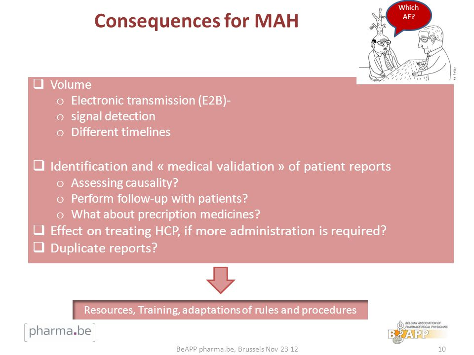 Consequences for MAH Volume o Electronic transmission (E2B)- o signal detection o Different timelines Identification and « medical validation » of patient reports o Assessing causality.