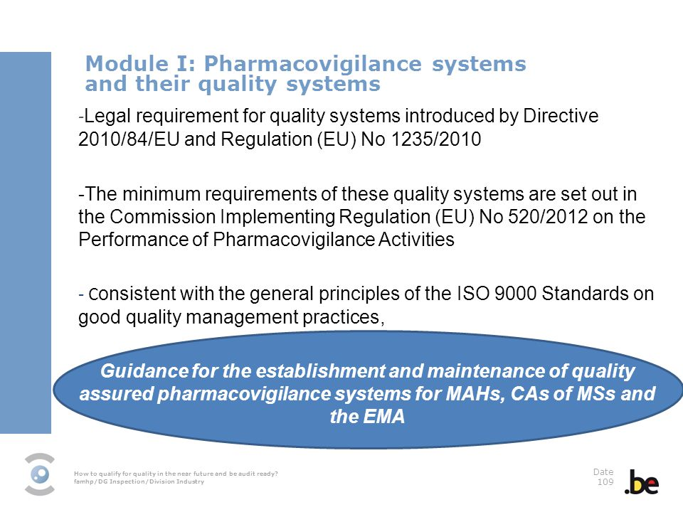 How to qualify for quality in the near future and be audit ready? famhp/DG Inspection/Division Industry Date 109 Module I: Pharmacovigilance systems a