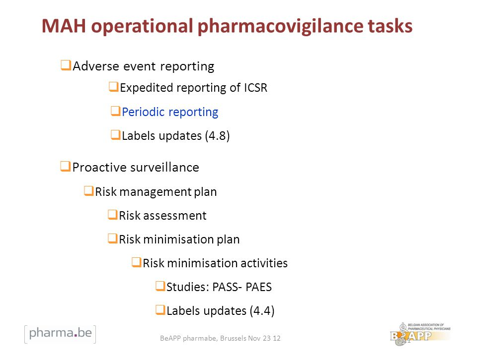 11 Adverse event reporting Expedited reporting of ICSR Periodic reporting Labels updates (4.8) Proactive surveillance Risk management plan Risk assessment Risk minimisation plan Risk minimisation activities Studies: PASS- PAES Labels updates (4.4) MAH operational pharmacovigilance tasks BeAPP pharmabe, Brussels Nov 23 12