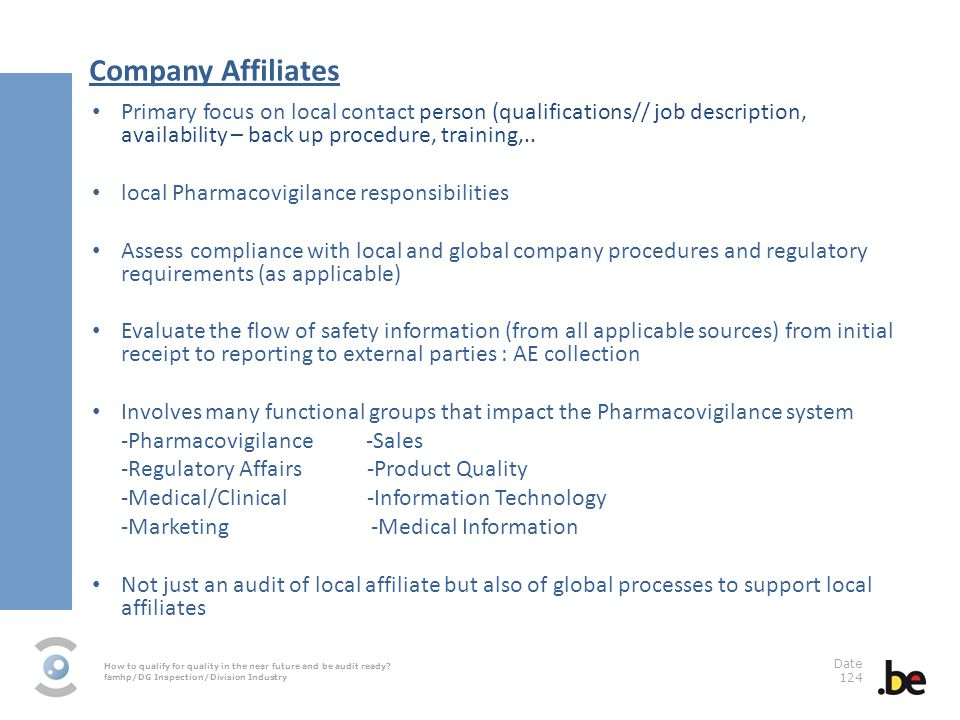 How to qualify for quality in the near future and be audit ready? famhp/DG Inspection/Division Industry Date 124 Company Affiliates Primary focus on l