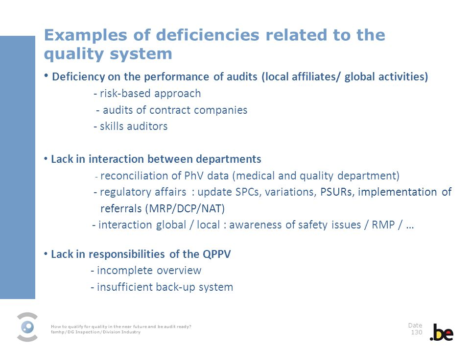 How to qualify for quality in the near future and be audit ready? famhp/DG Inspection/Division Industry Date 130 Examples of deficiencies related to t