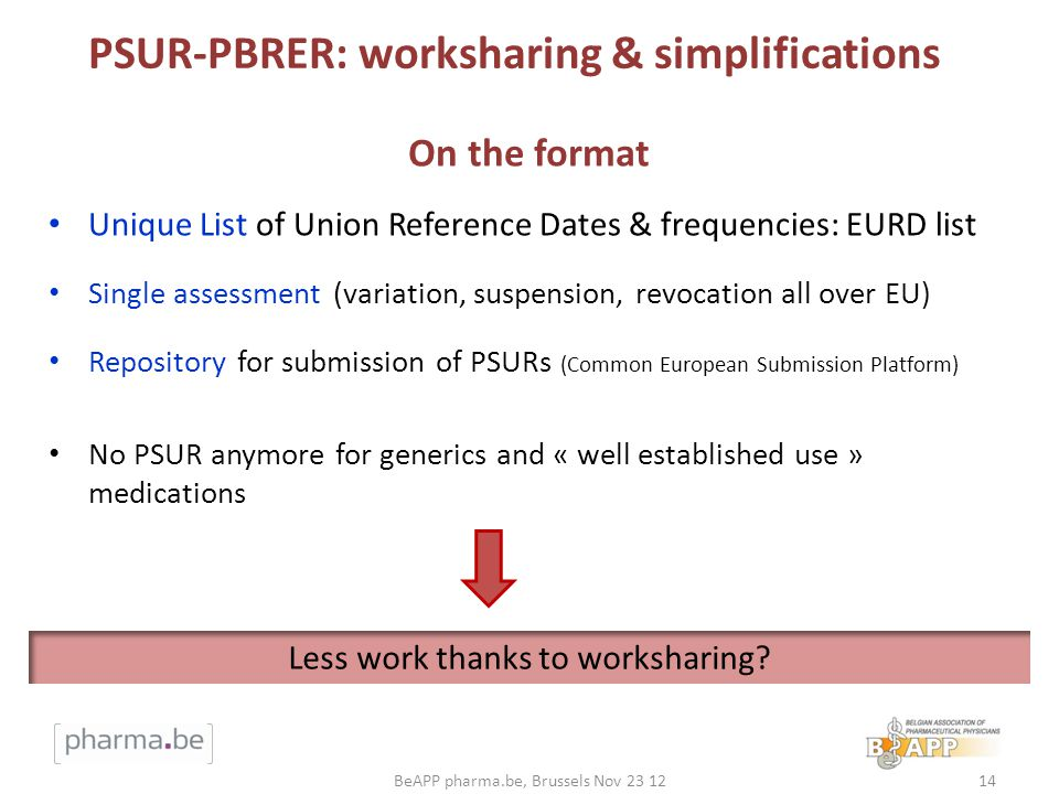 PSUR-PBRER: worksharing & simplifications Unique List of Union Reference Dates & frequencies: EURD list Single assessment (variation, suspension, revo