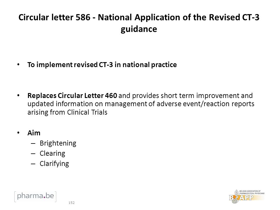 Circular letter 586 - National Application of the Revised CT-3 guidance To implement revised CT-3 in national practice Replaces Circular Letter 460 an