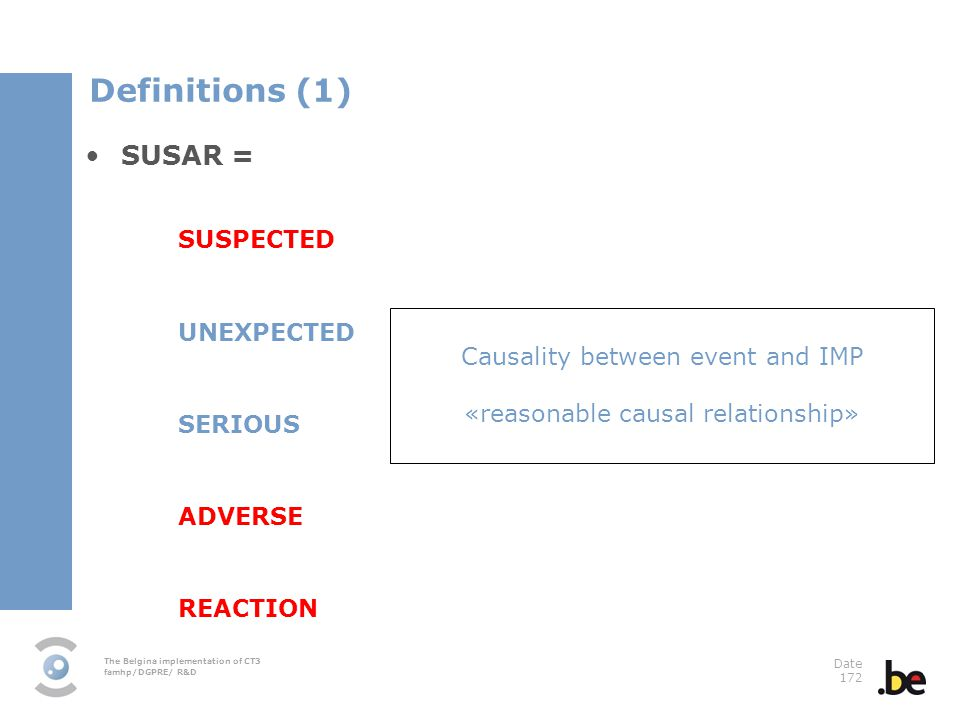 The Belgina implementation of CT3 famhp/DGPRE/ R&D Date 172 SUSAR = SUSPECTED UNEXPECTED SERIOUS ADVERSE REACTION Causality between event and IMP «reasonable causal relationship» Definitions (1)