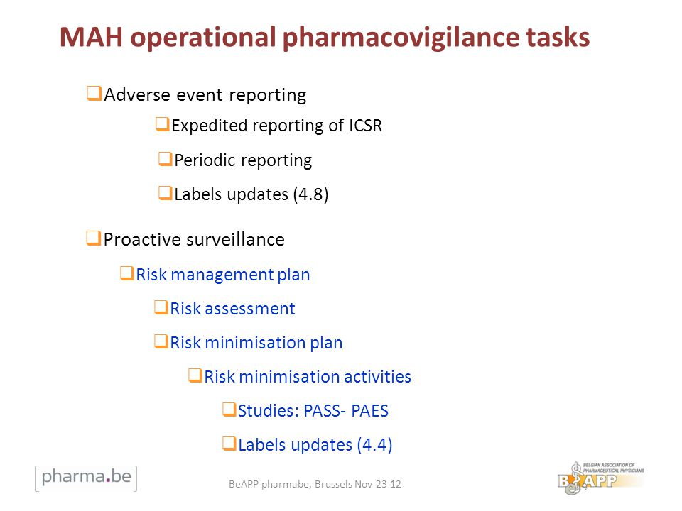 19 Adverse event reporting Expedited reporting of ICSR Periodic reporting Labels updates (4.8) Proactive surveillance Risk management plan Risk assessment Risk minimisation plan Risk minimisation activities Studies: PASS- PAES Labels updates (4.4) MAH operational pharmacovigilance tasks BeAPP pharmabe, Brussels Nov 23 12