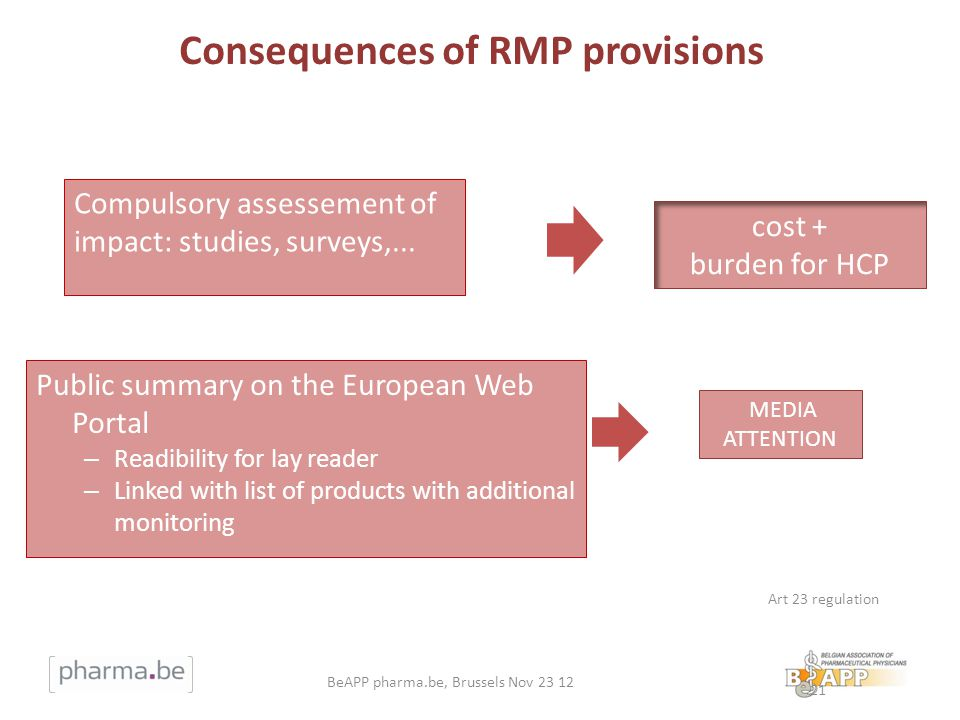 Consequences of RMP provisions Public summary on the European Web Portal – Readibility for lay reader – Linked with list of products with additional m