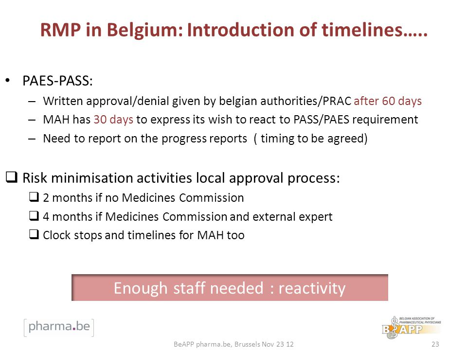 RMP in Belgium: Introduction of timelines…..