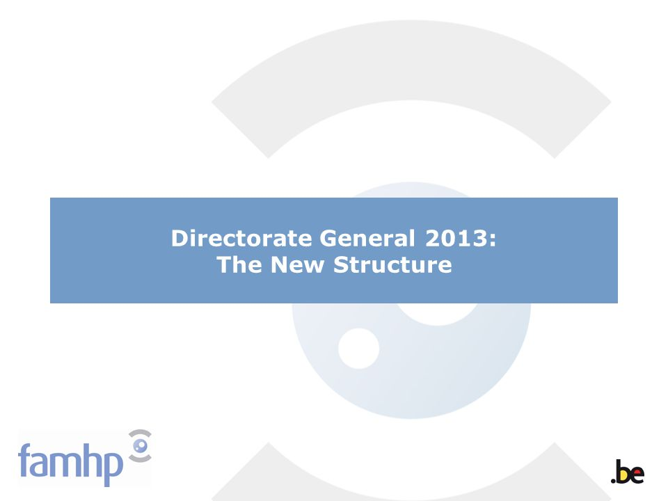 Directorate General 2013: The New Structure
