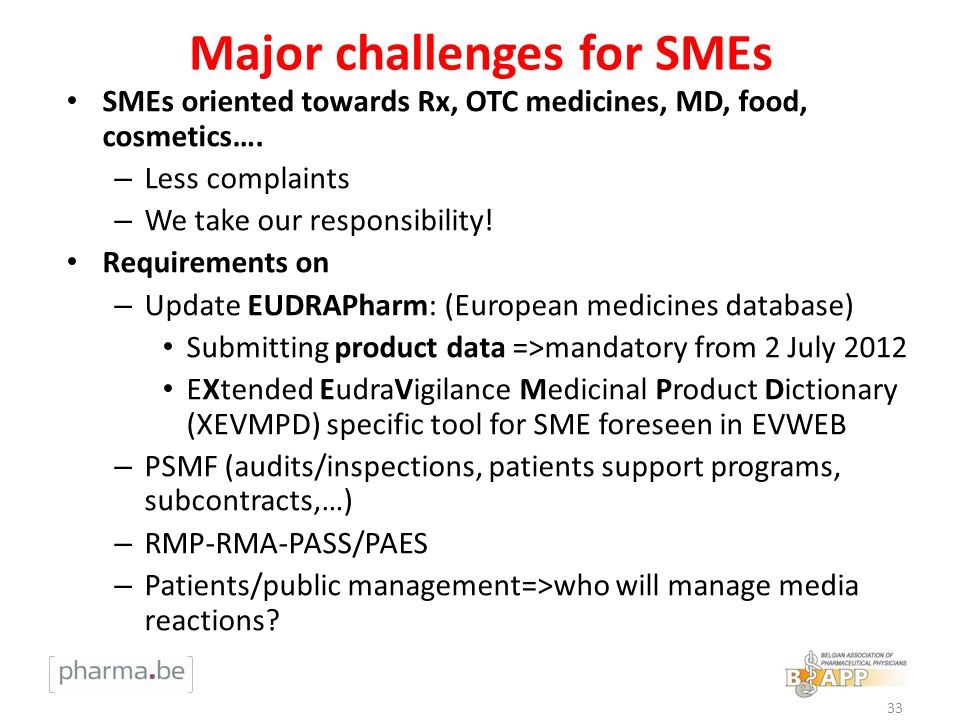 Major challenges for SMEs SMEs oriented towards Rx, OTC medicines, MD, food, cosmetics…. – Less complaints – We take our responsibility! Requirements