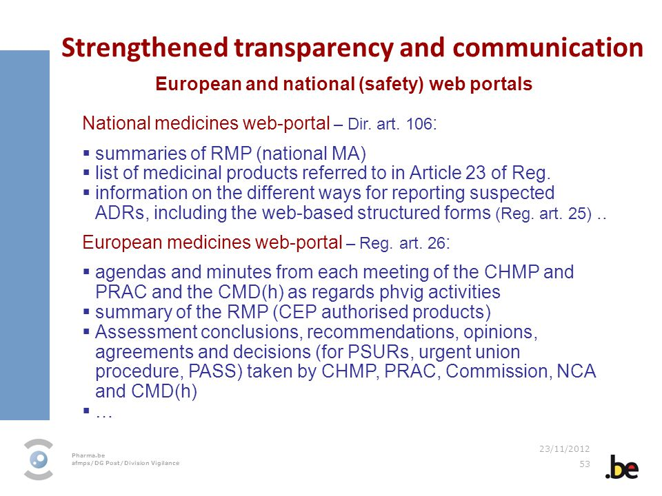 Pharma.be afmps/DG Post/Division Vigilance 23/11/2012 53 Strengthened transparency and communication European and national (safety) web portals Nation