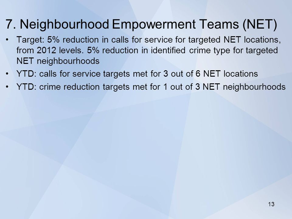 7. Neighbourhood Empowerment Teams (NET) Target: 5% reduction in calls for service for targeted NET locations, from 2012 levels. 5% reduction in ident