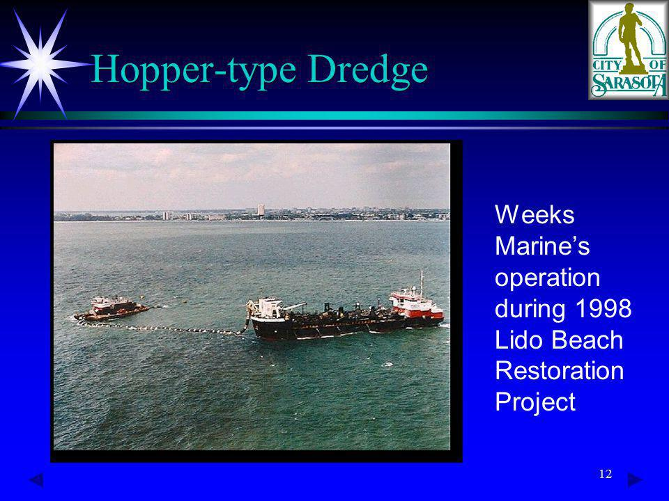 12 Hopper-type Dredge Weeks Marines operation during 1998 Lido Beach Restoration Project