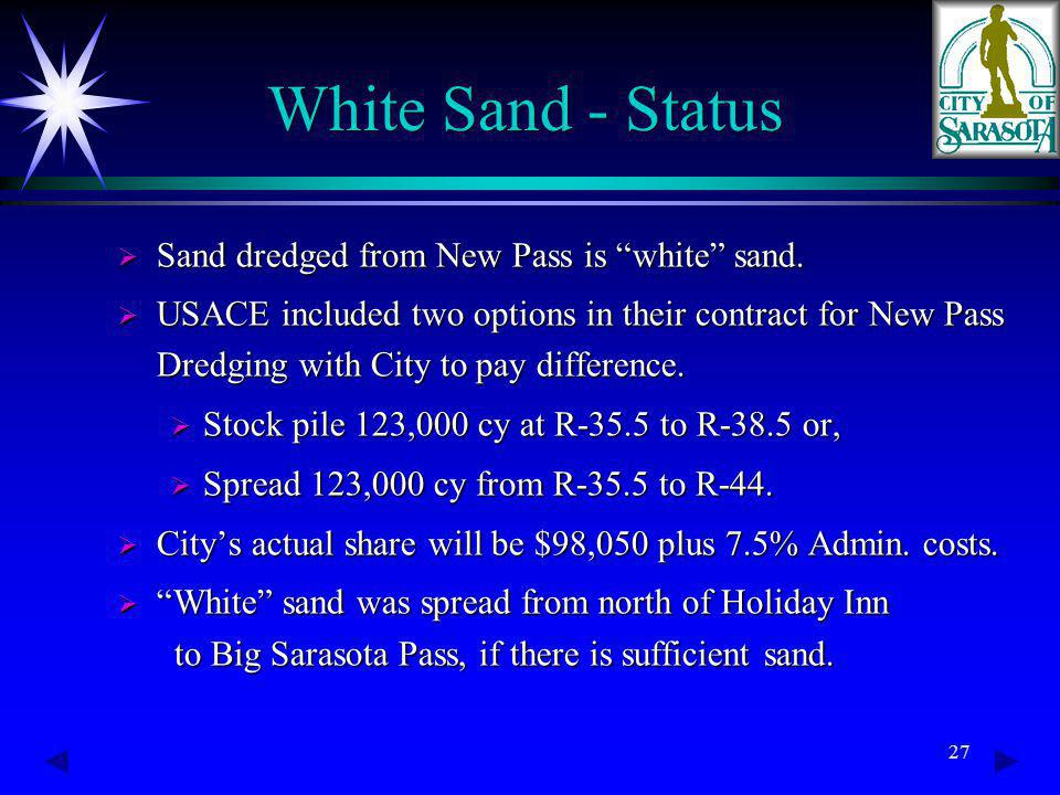 27 White Sand - Status Sand dredged from New Pass is white sand.
