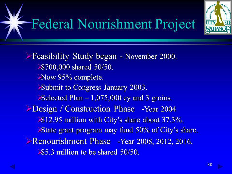 30 Federal Nourishment Project Feasibility Study began - November 2000.