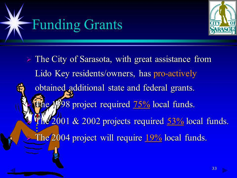 33 Funding Grants The City of Sarasota, with great assistance from Lido Key residents/owners, has pro-actively obtained additional state and federal grants.