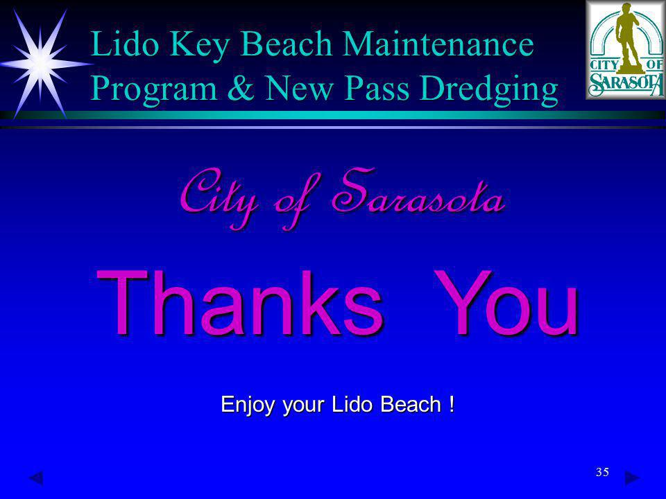 35 City of Sarasota Thanks You Enjoy your Lido Beach .