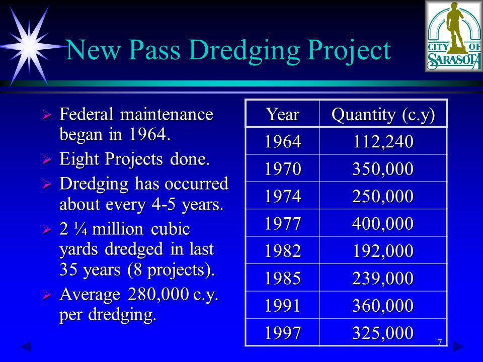 7 Federal maintenance began in 1964. Federal maintenance began in 1964. Eight Projects done. Eight Projects done. Dredging has occurred about every 4-
