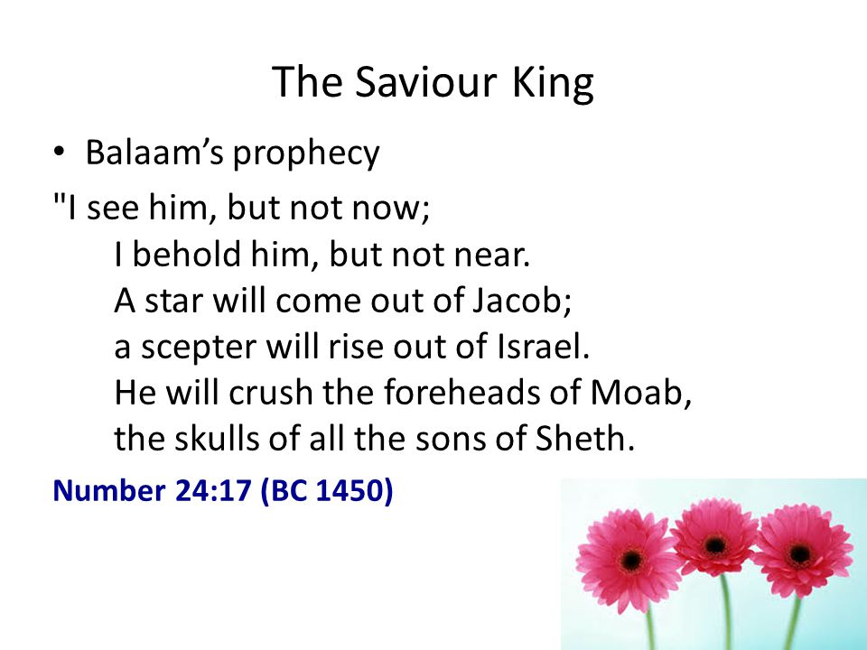 The Saviour King Balaams prophecy I see him, but not now; I behold him, but not near.