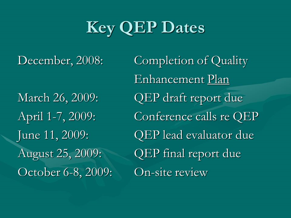 Key QEP Dates December, 2008: Completion of Quality Enhancement Plan Enhancement Plan March 26, 2009: QEP draft report due April 1-7, 2009: Conference