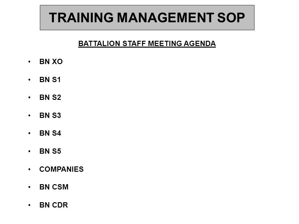 TRAINING MANAGEMENT SOP BATTALION STAFF MEETING AGENDA BN XO BN S1 BN S2 BN S3 BN S4 BN S5 COMPANIES BN CSM BN CDR