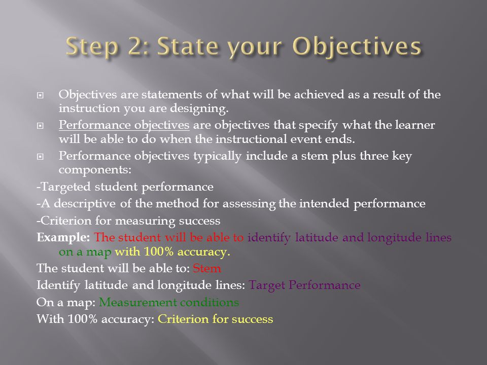 Objectives are statements of what will be achieved as a result of the instruction you are designing. Performance objectives are objectives that specif