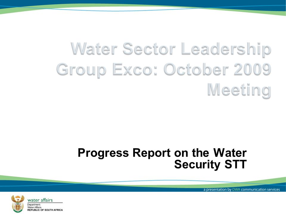 1 Progress Report on the Water Security STT
