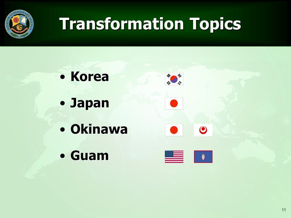 11 Transformation Topics Transformation Topics KoreaKorea JapanJapan OkinawaOkinawa GuamGuam