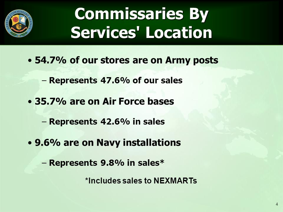 4 Commissaries By Services' Location 54.7% of our stores are on Army posts –Represents 47.6% of our sales 35.7% are on Air Force bases –Represents 42.