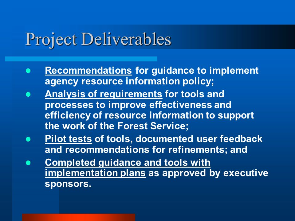 Project Deliverables Recommendations for guidance to implement agency resource information policy; Analysis of requirements for tools and processes to